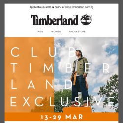 [Timberland] ✌️ Members' Preview Week EXTENDED! Up to 30% OFF