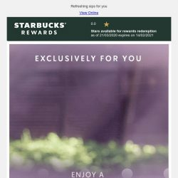 [Starbucks] Yay, an exclusive 1-for-1 treat is coming 😎