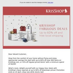 [Singapore Airlines] Enjoy up to 60% off Fabulous Deals on KrisShop.com