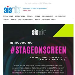 [SISTIC] Introducing #StageOnScreen: Your ticket to great (HOME) entertainment.