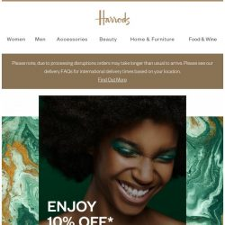 [Harrods] 10% off ends tonight!