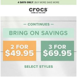 [Crocs Singapore] Ends tomorrow📣 BUY 2 for $49.95 & 3 for 69.95