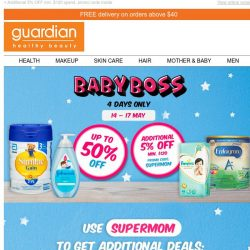 [Guardian] 🍼 Baby Boss is back! The best deals for your baby at up to 50% OFF