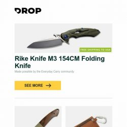 [Massdrop] Rike Knife M3 154CM Folding Knife, Maserin D2 Sport Liner Lock Knife, Exclusive: Allegory Goods Leather EDC Pouch and more...