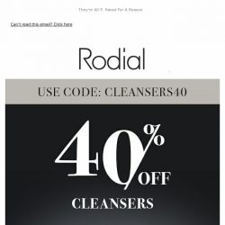 [RODIAL] Treat Yourself To 40% Off Cleansers
