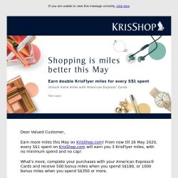 [Singapore Airlines] Double your Miles this May with KrisShop.com