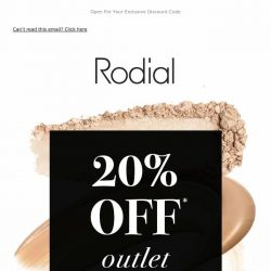 [RODIAL] NOW ON | Enjoy 20% Off Outlet 💕