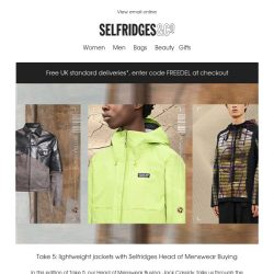 [Selfridges & Co] Take 5: lightweight layers for him