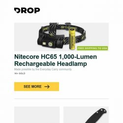 [Massdrop] Nitecore HC65 1,000-Lumen Rechargeable Headlamp, TEC Accessories Ti-Pry Keychain-Edition Pry Bar, Real Steel H6 Plus Frame Lock Knife and more...