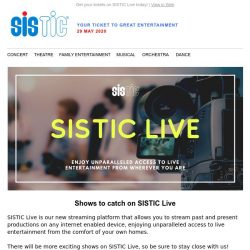 [SISTIC] New shows that you can catch over this weekend!