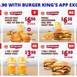 Burger King: Enjoy 8 Exclusive Deals on BK App - 1-for-1 Double Mushroom Swiss, Iced Milo, SJORA Mango Peach & More!