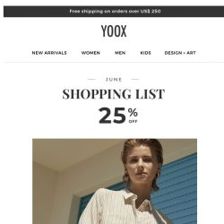 [Yoox] 25% OFF to refresh your style!