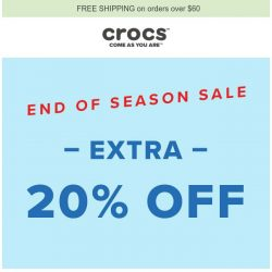 [Crocs Singapore] EXTRA 20% OFF - End of Season Sale