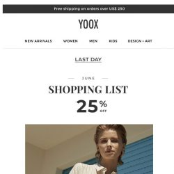 [Yoox] June Shopping List: Discover the selection with 25% OFF