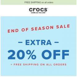 [Crocs Singapore] End of Season Sale: EXTRA 20% OFF + Free Shipping