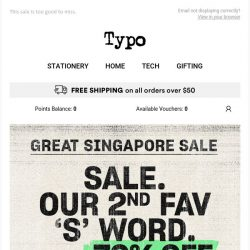 [typo] GREAT SINGAPORE SALE | up to 70% off, on now! ⚡