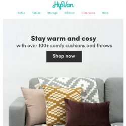 [HipVan] Stay warm and cosy with comfy cushions and throws!😍