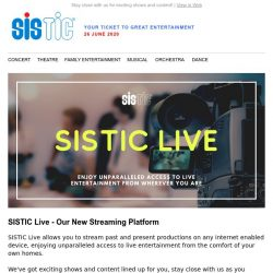 [SISTIC] SISTIC continues to bring GE2020 (Great Entertainment 2020) in Phase 2.