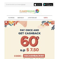 [Floweradvisor] Pay Once and Get Cashback