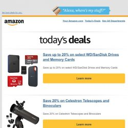 [Amazon] Save up to 20% on select WD/SanDisk Drives and...
