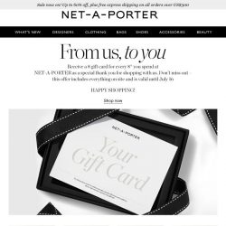 [NET-A-PORTER] Receive a $50 USD gift card when you shop with us