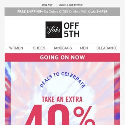 [Saks OFF 5th] Use code CELEBRATE for an extra 40% OFF linen, jeans & more