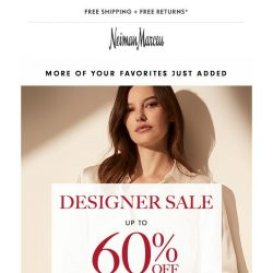 [Neiman Marcus] More styles added to Designer Sale! Up to 60% off