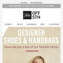 [Saks OFF 5th] Up to 60% OFF Jimmy Choo, Salvatore Ferragamo & more