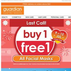 [Guardian] 💢 [LAST CALL] Buy 1 FREE 1 Facial Masks & Baby Boss ends today!