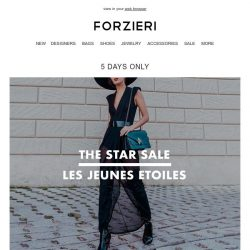 [Forzieri] Email-only The STAR Sale @ LesJeunesEtoiles (5 days only)