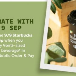 Starbucks: Receive a FREE 9/9 Starbucks Reusable Cup with Purchase of Any Venti-Sized Handcrafted Beverage!